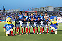 "F Yokohama F Marinos team group line-up,JULY 13, 2011 - Football :Yokohama F Marinos players (Top row - L to R) Yuji Nakazawa, Hiroyuki Taniguchi, Masashi Oguro, Yuzo Kurihara, Kazuma Watanabe, Hiroki Iikura, (Bottom row - L to R) Shunsuke Nakamura, Takashi Kanai, Shingo Hyodo, Shohei Ogura and Yuzo Kobayashi pose for a team photo with the club mascots ""Marinos-kun""(L) and ""Marinosuke""(R) before the 2011 J.League Division 1 match between Yokohama F Marinos 2-1 Montedio Yamagata at NHK Spring Mitsuzawa Football Stadium in Kanagawa, Japan. (Photo by Kenzaburo Matsuoka/AFLO)"