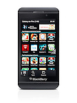 Blackberry Z10 smartphone with Blackberry World app store on its display. Black phone isolated on white background with clipping path