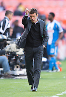 D.C. United head coach Ben Olsen calls for a substitution during the game at the RFK Stadium in Washington DC.  Philadelphia defeated D.C. United, 3-2.