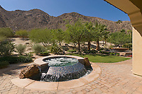 Backyard fountain of desert home