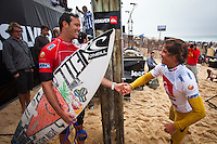 "LA GRAVIERE, Hossegor/France (Wednesday, October 12, 2011) – Jordy Smith (ZAF) and Julian Wilson (AUS). Gabriel Medina (BRA), 17, newcomer to the elite ASP Top 34 after September's rotation, has secured his inaugural ASP World Title victory today, taking out the Quiksilver Pro France over Julian Wilson (AUS), 22, in high-performance three-to-four foot (1 metre) waves at La Graviere...Stop No. 8 of 11 on the 2011 ASP World Title season, the Quiksilver Pro France culminated today in exciting fashion as the next generation of ASP World Title contenders announced their intentions on the world stage...Medina, in only second event as an ASP Top 34 member, cut a swathe through the world's best surfers, securing three of the top five highest single-wave scores of the event en route to his emotional win...""This is the best feeling ever,"" Medina said. ""I beat some great guys on the way to Final and I'm very stoked now. I want to thank all my friends and family and god for their support. It has been an amazing week for me. Just two years ago, I was here competing in the King of the Groms and I won that event and now I'm here in the main event and I've won it. It doesn't seem real."".Photo: joliphotos.com"