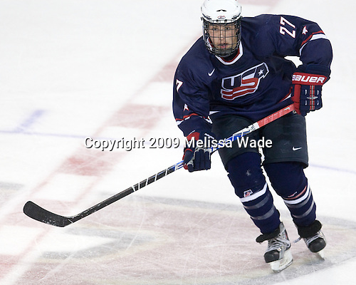 Justin Faulk (US - 27) - The Boston College Eagles defeated USA Hockey's National Team Development Program's Under 18 team 6-3 on Friday, October 9, 2009 at Conte Forum in Chestnut Hill, Massachusetts.