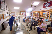 NWA Democrat-Gazette/BEN GOFF @NWABENGOFF<br /> Brian Scott, a retired history professor, of Bella Vista talks about the history of the United States entry into World War I  and it's impact on Arkansas Sunday, March 19, 2017, during the annual meeting of the Bella Vista Historical Society at the Bella Vista Historical Museum. The program was held ahead of the 100th anniversary of the U.S. Congress declaring of war against the German Empire on in April 1917.