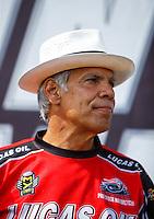 Sep 18, 2016; Concord, NC, USA; NHRA pro stock motorcycle rider Hector Arana Sr during the Carolina Nationals at zMax Dragway. Mandatory Credit: Mark J. Rebilas-USA TODAY Sports