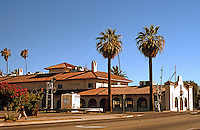 Mission RR Stations: Santa Fe Railroad Station, Fresno, 1910. South side of Tulare at Q. Still serves as Amtrak Station. Photo 2000.