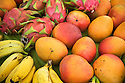 Dragonfruit, mangoes and bananas at fresh fruit stand; Hana Coast, Maui, Hawaii.