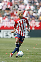 20 May 2007: Chivas #25 Lawson Vaughn dribbles the ball during a 1-1 tie for MLS Chivas USA vs. Los Angeles Galaxy pro soccer teams at the Home Depot Center in Carson, CA.