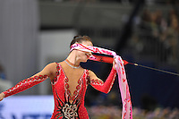 September 11, 2009; Mie, Japan;  Irina Risenson of Israel expresses with ribbon as routine begins and went on to place 6th in the individual All Around at 2009 World Championships Mie. Photo by Tom Theobald .