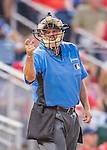 23 July 2016: MLB Umpire Tom Hallion works home plate during a game between the Washington Nationals and the San Diego Padres at Nationals Park in Washington, DC. The Nationals defeated the Padres 3-2 to tie their series at one game apiece. Mandatory Credit: Ed Wolfstein Photo *** RAW (NEF) Image File Available ***