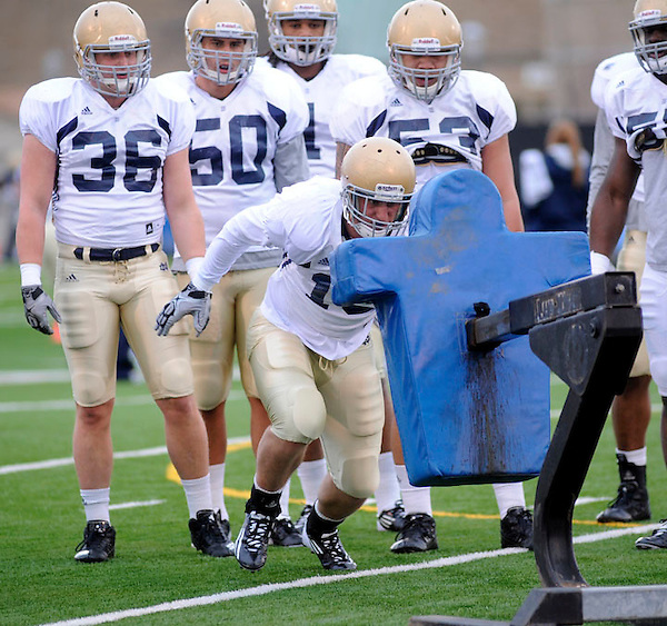 Defensive players run a drill Wednesday April 6, 2011  in South Bend, Indiana (Irish Illustrated Photo/Joe Raymond)