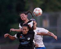 New England Mutiny forward Tiya Gallegos (25), New England Mutiny midfielder Rebecca Mays (10), and Boston Breakers midfielder Leslie Osborne (12) battle for head ball. In a Women's Premier Soccer League Elite (WPSL) match, the Boston Breakers defeated New England Mutiny, 4-2, at Dilboy Stadium on June 20, 2012.