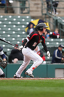 Rochester Red Wings second baseman James Beresford (2) singles in the bottom of the sixth inning against the Scranton Wilkes-Barre Railriders on May 1, 2016 at Frontier Field in Rochester, New York. Red Wings won 1-0.  (Christopher Cecere/Four Seam Images)