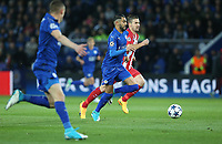 Leicester City's Riyad Mahrez chased by Atletico Madrid's Gabi<br /> <br /> Photographer Stephen White/CameraSport<br /> <br /> UEFA Champions League Quarter Final Second Leg - Leicester City v Atletico Madrid - Tuesday 18th April 2017 - King Power Stadium - Leicester <br />  <br /> World Copyright &copy; 2017 CameraSport. All rights reserved. 43 Linden Ave. Countesthorpe. Leicester. England. LE8 5PG - Tel: +44 (0) 116 277 4147 - admin@camerasport.com - www.camerasport.com