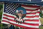 American Flag  symbol of United States of America, freedom, pride, loyalty and patriotism. The stars and strips, the red white and blue with the addition of symbol of Native American pride on it.<br />