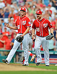 2 September 2012: Washington Nationals' first baseman Chad Tracy celebrates the final out of the game with pitcher Tyler Clippard during a game against the St. Louis Cardinals at Nationals Park in Washington, DC. The Nationals edged out the visiting Cardinals 4-3, capping their 4-game series with three wins. Mandatory Credit: Ed Wolfstein Photo