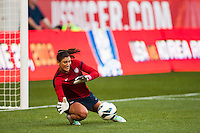 United States (USA) goalkeeper Hope Solo (1) during warmups prior to playing the Korea Republic (KOR). The women's national team of the United States defeated the Korea Republic 5-0 during an international friendly at Red Bull Arena in Harrison, NJ, on June 20, 2013.