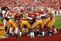 25 November 2006: Offensive players huddle before the start of the NCAA College Football final home game of the season for the University of Southern California USC Trojans with a 44-24 victory over the University of Notre Dame Irish at the LA Memorial Coliseum. USC moved up to the second spot in the BCS Poll with this win over ND.<br />