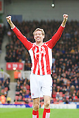 28.02.2015.  Stoke, England. Barclays Premier League. Stoke City versus Hull City. Stoke City forward Peter Crouch celebrates his goal for 1-0.