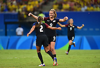 Manaus, Brazil - Tuesday, August 9, 2016: The USWNT go up 2-1 over Colombia from a goal by Mallory Pugh in second half action in Group G play during the 2016 Olympics at Amazonia Arena.