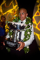 "COOLANGATTA, Australia (Thursday, February 26, 2009) - .2008 World Surfing Champion Kelly Slater (USA)   at the ASP World Champions' Crowning took place tonight at the Gold Coast Convention and Exhibition Centre beginning at 6:30pm.. .Surfing's ""night of nights"", the ASP World Champions' Crowning, was a gala event, hosting the world's best surfers as well as distinguished figures from the surfing industry in honor of the 2008 ASP World Champions.. .Kelly Slater (USA), 36, reigning and nine-time ASP World Champion, accepted his unprecedented ninth ASP World Title award just days before beginning his hunt for an incredible 10th Crown at the upcoming Quiksilver Pro Gold Coast presented by LG Mobile.. .Stephanie Gilmore (AUS), 21, reigning two-time ASP Women's World Champion, received her second consecutive ASP Women's World Title cup, and the young natural-footer will soon embark on a campaign to make it a three-peat in 2009. Gilmore will begin this weekend at the opening event of the 2009 ASP Women's World Tour season, the Roxy Pro Gold Coast presented by LG Mobile.. .Other ASP Dream Tour athletes  recognized were respective Runner-Ups Bede Durbidge (AUS), 25, and Silvana Lima (BRA), 24, as well as Rookies of the Year Dane Reynolds (USA), 23, and Nicola Atherton (AUS), 22.. .Bonga Perkins (HAW), 36, and Joy Monahan (HAW), 22, took out the ASP World Longboarding and ASP Women's World Longboarding Titles respectively, while Nathaniel Curran (USA), 24, and Sally Fitzgibbons (AUS), 18, took home hardware for their respective No. 1 finishes on the ASP World Qualifying Series last season.. .In addition to honoring the champions from 2008, the ASP World Champions' Crowning also recognized athletes who  earnt the 2008 ASP World Tour 'Most Improved',  a tie between Adrian Buchan (AUS) and Adrian de Souz (BRA) the 2008 ASP Women's World Tour 'Most Improved', the ASP Service to the Sport Award and the prestigious Peter Whittaker Award take out by Taylor Knox (USA)."