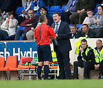 St Johnstone v Alashkert FC...09.07.15   UEFA Europa League Qualifier 2nd Leg<br /> Tommy Wright gets a talking to by the ref Fredy Fautrel<br /> Picture by Graeme Hart.<br /> Copyright Perthshire Picture Agency<br /> Tel: 01738 623350  Mobile: 07990 594431