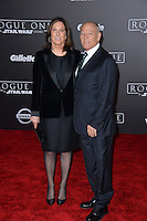 Producer Kathleen Kennedy &amp; husband Frank Marshall at the world premiere of &quot;Rogue One: A Star Wars Story&quot; at The Pantages Theatre, Hollywood. <br /> December 10, 2016<br /> Picture: Paul Smith/Featureflash/SilverHub 0208 004 5359/ 07711 972644 Editors@silverhubmedia.com