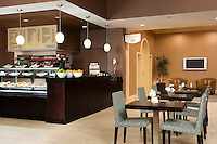 The coffee and snack area of a Sheraton hotel.