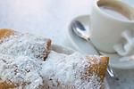 April 14, 2006 - Beignet and cafe au lait at Cafe du Monde on Jackson Square in New Orleans, LA