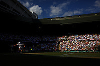Andy Roddick, USA, in action against Andy Murray, Great Britain, during the Men's Singles Semi Final Match at the All England Lawn Tennis Championships at Wimbledon, London, England on Friday, July 03, 2009. Photo Tim Clayton.
