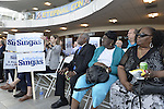 Garden City, New York, USA. 26th May 2015. At the Nassau County Democrats nominating convention, audience members hold up signs for Madeline Singas, who is running for Nassau County District Attorney. Singas, who became Acting Nassau County DA when D.A. Rice resigned to join Congress, is one of 55 candidates the executive committee nominated for races.