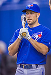 4 April 2015: Toronto Blue Jays infielder Steve Tolleson awaits his turn in the batting cage prior to an exhibition game against the Cincinnati Reds at Olympic Stadium in Montreal, Quebec, Canada. The Blue Jays defeated the Reds 9-1 in the second of two MLB weekend exhibition games. Mandatory Credit: Ed Wolfstein Photo *** RAW (NEF) Image File Available ***