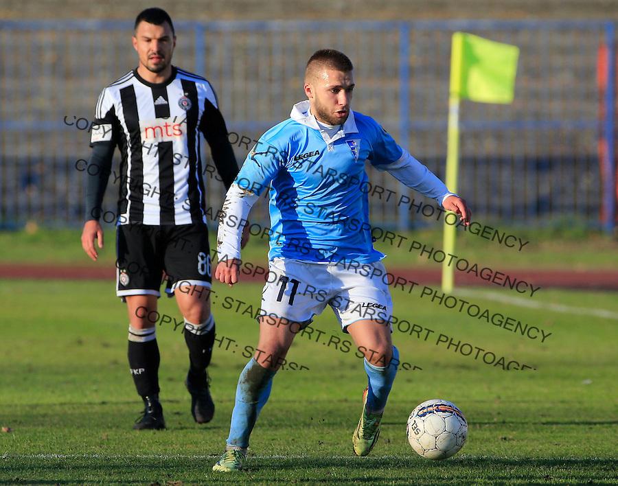 Fudbal Jelen Super League season 2015-2016<br /> Spartak v Partizan<br /> Stefan Milosevic (R) and Valeri Bozhinov (Bojinov)<br /> Subotica, 29.11.2015.<br /> foto: Srdjan Stevanovic/Starsportphoto&copy;