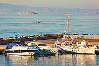 Boats at the port of Megalochori (Mylos) in Agistri island, Greece