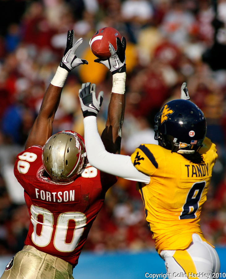 JACKSONVILLE, FL 1/1/10-FSU-WV FB CH57-Florida State's Jarmon Fortson can't hang onto a pass as West Virginia's Keith Tandy defends during second half Gator Bowl action Friday in Jacksonville, Fla. The Seminoles beat the Mountaineers 33-21..COLIN HACKLEY PHOTO