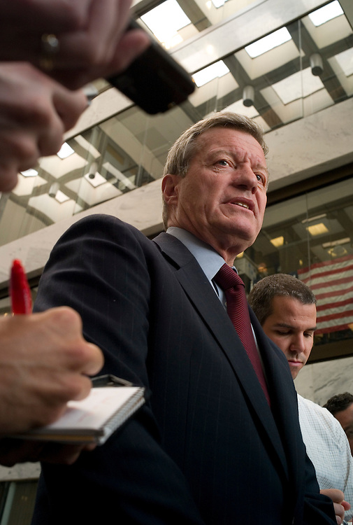 WASHINGTON, DC - July 21: Senate Finance Chairman Max Baucus, D-Mont., talks to media after a regular meeting in his office of a bipartisan group of committee members on writing a comprehensive healthcare bill. (Photo by Scott J. Ferrell/Congressional Quarterly)