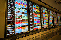 The train schedule in the NJ Transit station in Penn Station in New York on Tuesday, March 8, 2016. New Jersey Transit rail workers planning on striking on Sunday, March 13 at 12:01AM if a deal with NJT is not hammered out. On Monday 160,000 riders  who use the rail system on a weekday will have to contend with contingency plans that can only accommodate 40 percent of them.  (© Richard B. Levine)