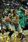 03 APR 2012: Brooklyn Pope (32) of Baylor University looks to make a pass against Markisha Wright (34) of the University of Notre Dame during the Division I Women's Basketball Championship held at the Pepsi Center in Denver, CO. Stephen Nowland/NCAA Photos
