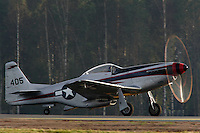 Historic, World War II, aircraft North American P-51 Mustang about  to take off for display at Rygge Airshow. Norway