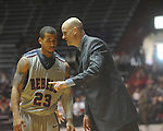 "Ole Miss guard Trevor Gaskins (23)  listens to Ole Miss head coach Andy Kennedy at the C.M. ""Tad"" Smith Coliseum in Oxford, Miss. on Saturday, December 18, 2010. Ole Miss won 71-50."