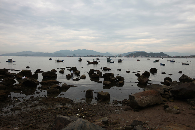 Low tide at late afternoon in Nha Trang, Vietnam. July 13, 2011.
