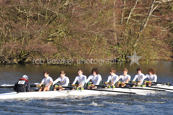 077 .KCH-Slater .J15A.8+ .Kings Sch Chester. Wallingford Head of the River. Sunday 27 November 2011. 4250 metres upstream on the Thames from Moulsford railway bridge to Oxford Universitiy's Fleming Boathouse in Wallingford. Event run by Wallingford Rowing Club..