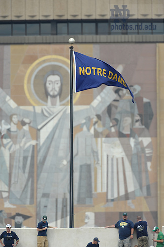 Touchdown Jesus as seen from ND Stadium on a football Saturday