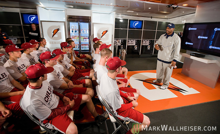 Derrick Brooks talks to the Chiles High School baseball team inside the Gatorade G Series mobile locker room during a stop in Tallahassee, Florida March 18, 2010.