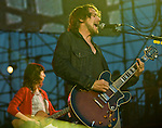 Silversun Pickups lead singer Brian Aubert  and bassist Nikki Monninger, perform with the rest of the band during the 2012 KROQ Weenie Roast y Fiesta at Verizon Wireless Amphitheater.