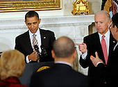 United States President Barack Obama delivers remarks to the National Governors Association during a meeting in the White House State Dining Room on Monday, February 27, 2012, in Washington, DC.  U.S. Vice President Joe Biden is at right..Credit: Leslie E. Kossoff / Pool via CNP