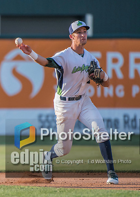31 July 2016: Vermont Lake Monsters infielder Eli White turns a double play in the 7th inning against the Connecticut Tigers at Centennial Field in Burlington, Vermont. The Lake Monsters edged out the Tigers 4-3 in NY Penn League action.  Mandatory Credit: Ed Wolfstein Photo *** RAW (NEF) Image File Available ***