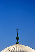 Tunisia, Le Kef.  Islamic Crescent above Cupola of Boumakhlouf Mosque.