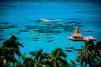 Tourist resort hut Moorea French Polynesia.