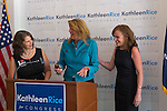 L-R, ANDREA MILLER, President of NARAL Pro-Choice New York; JOANN SMITH, President of Planned Parenhood Nassau County Action Fund, and KATHLEEN RICE, Democratic candidate for Congress in New York's 4th Congressional District; are having a discussion after a joint press conference where Rice was endorsed for Congress by NARAL and Planned Parenthood Of Nassau Count Action Fund, at the Rice Campaign Field Office. Rice is in her third term as Nassau County District Attorney, Long Island.