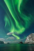 Northern Lights fill sky over Haukland beach, Vestvågøy, Lofoten Islands, Norway